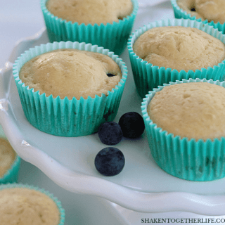 Sausage & Blueberry Pancake Muffins are an easy, sweet & savory addition to your brunch or breakfast spread!