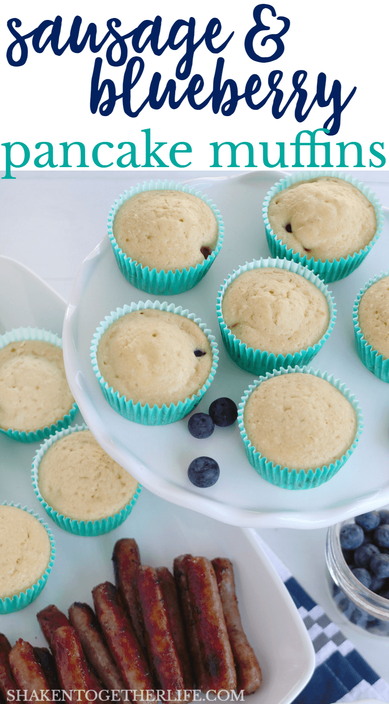 With savory sausage and fresh blueberries baked right in to a tender pancake batter, these Sausage & Blueberry Pancake Muffins are an easy brunch recipe or on the go breakfast!