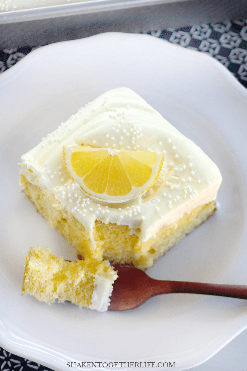 Triple Lemon Poke Cake is a citrus-y refrigerator cake that is so easy to make!