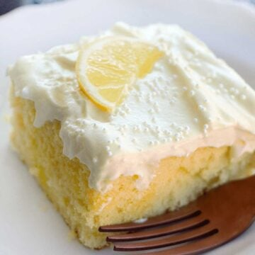 slice of lemon poke cake