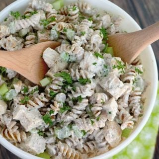 This is the BEST Creamy Chicken Pasta Salad and it will be the star of your brunch, picnic or potluck!