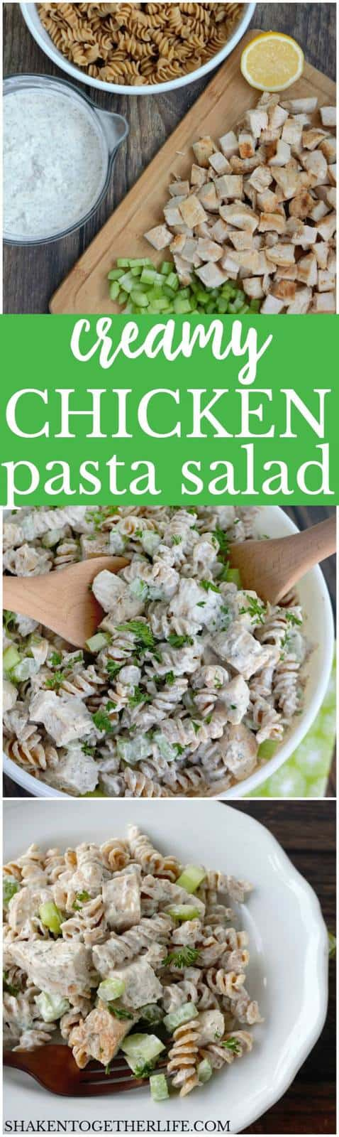 This is the BEST Creamy Chicken Pasta Salad! It is loaded with tender chicken, crunchy celery and a flavor packed dressing with ranch, dill and garlic! Perfect for lunch, brunch, a picnic or potluck!