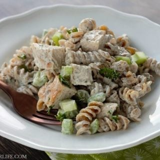 Once you make this, you will agree that this is the BEST Creamy Chicken Pasta Salad! Tender chicken, crunchy celery and a flavor packed dressing are the stars of this easy pasta salad recipe!