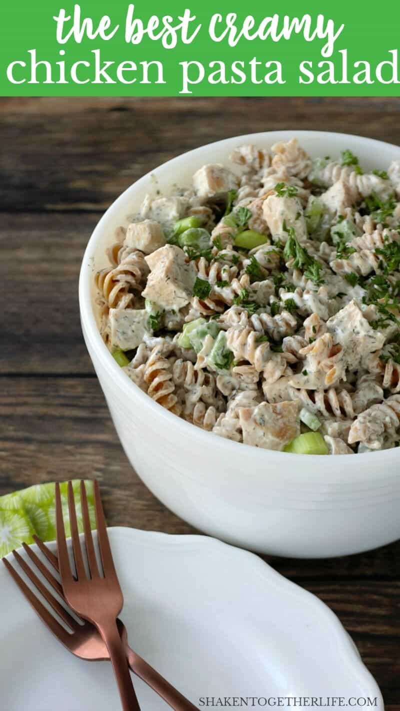 This is the BEST Creamy Chicken Pasta Salad! It is loaded with tender chicken, crunchy celery and a flavor packed dressing with ranch, dill and garlic!