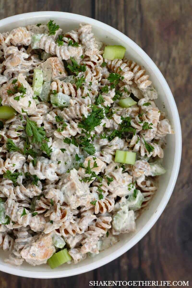 Why is this the BEST Creamy Chicken Pasta Salad? Grilled chicken! Crunchy celery! And a flavor packed dressing that is SO delicious!