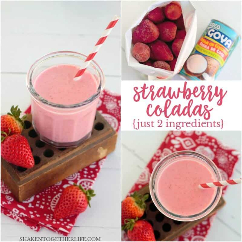 These Creamy Frozen Strawberry Coladas taste just like the tropics! This non-alcoholic frozen fruity drink only has 2 ingredients, too!
