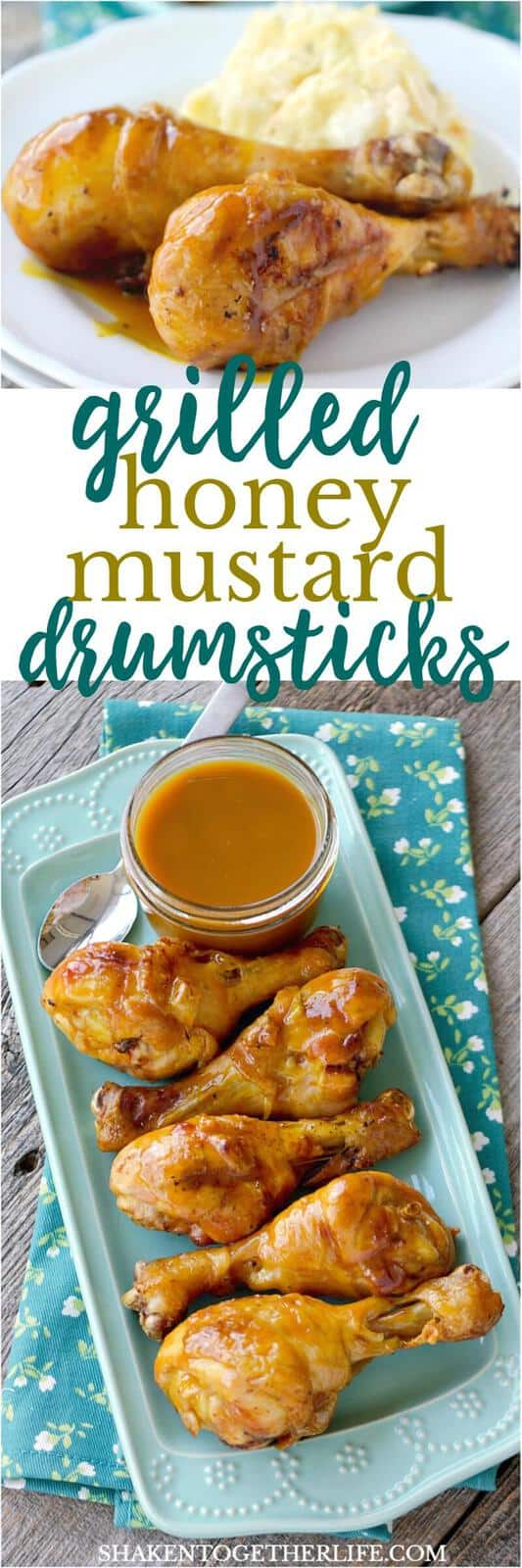 These Grilled Honey Mustard Drumsticks get their glorious sticky glaze from an easy 3 ingredient homemade honey mustard sauce!