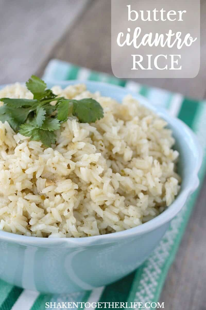 Simple Butter Cilantro Rice gets a ton of flavor from a simple grocery store ingredient! This easy side dish is perfect for Cinco de Mayo or any weeknight meal!