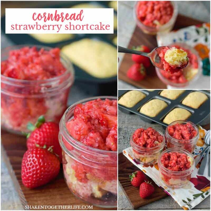 Cornbread Strawberry Shortcake - served in mason jars! - is perfect for parties, picnics and potlucks!