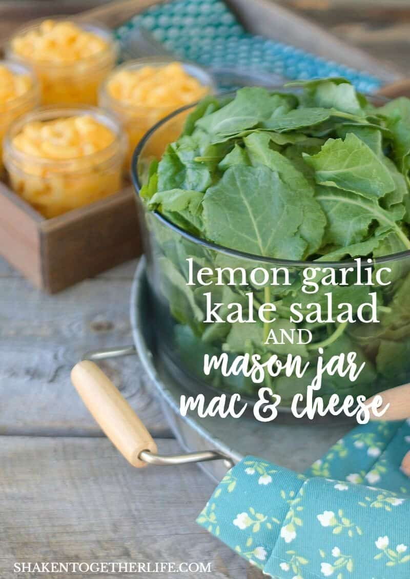 Lemon Garlic Kale Salad with hearty kale and a bright, fresh lemon garlic dressing is the perfect fresh side dish for Mason Jar Mac & Cheese!
