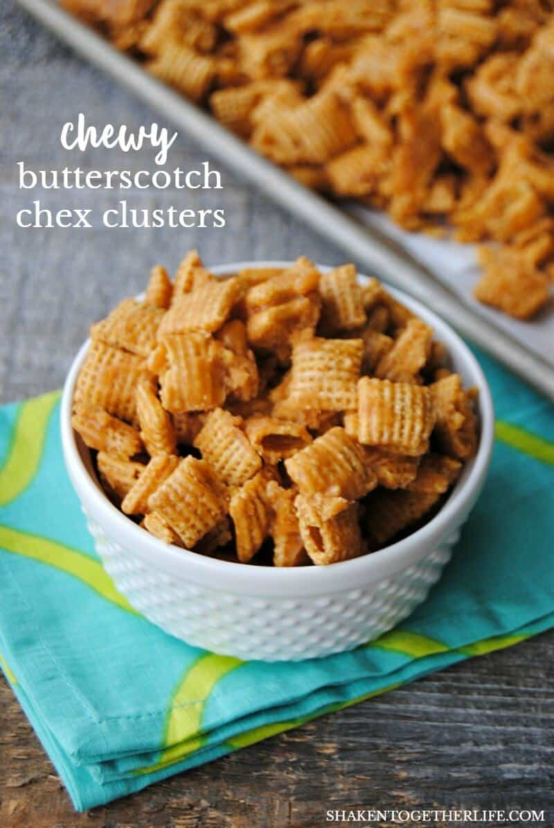 Chewy Butterscotch Chex Clusters - corn cereal is drenched with an ultra butterscotch-y coating then broken apart into munchable clusters!