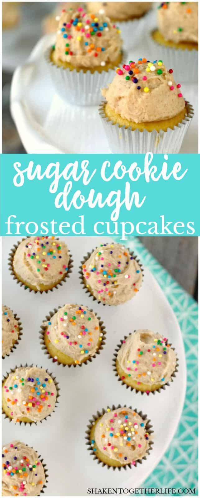 Mini Sugar Cookie Dough Frosted Cupcakes - tender yellow cupcakes topped with a dollop of eggless sugar cookie dough!