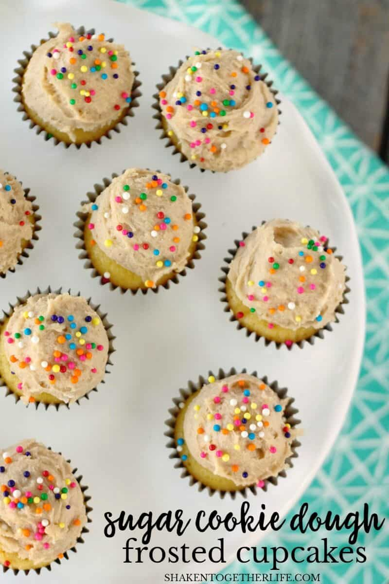 Mini Sugar Cookie Dough Frosted Cupcakes are two bites of pure cookie and cupcake heaven!