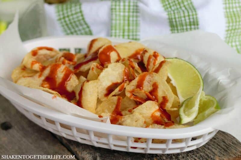 Move over chips and salsa - these Mexican Street Chips with Hot Sauce & Lime are an irresistibly easy snack!