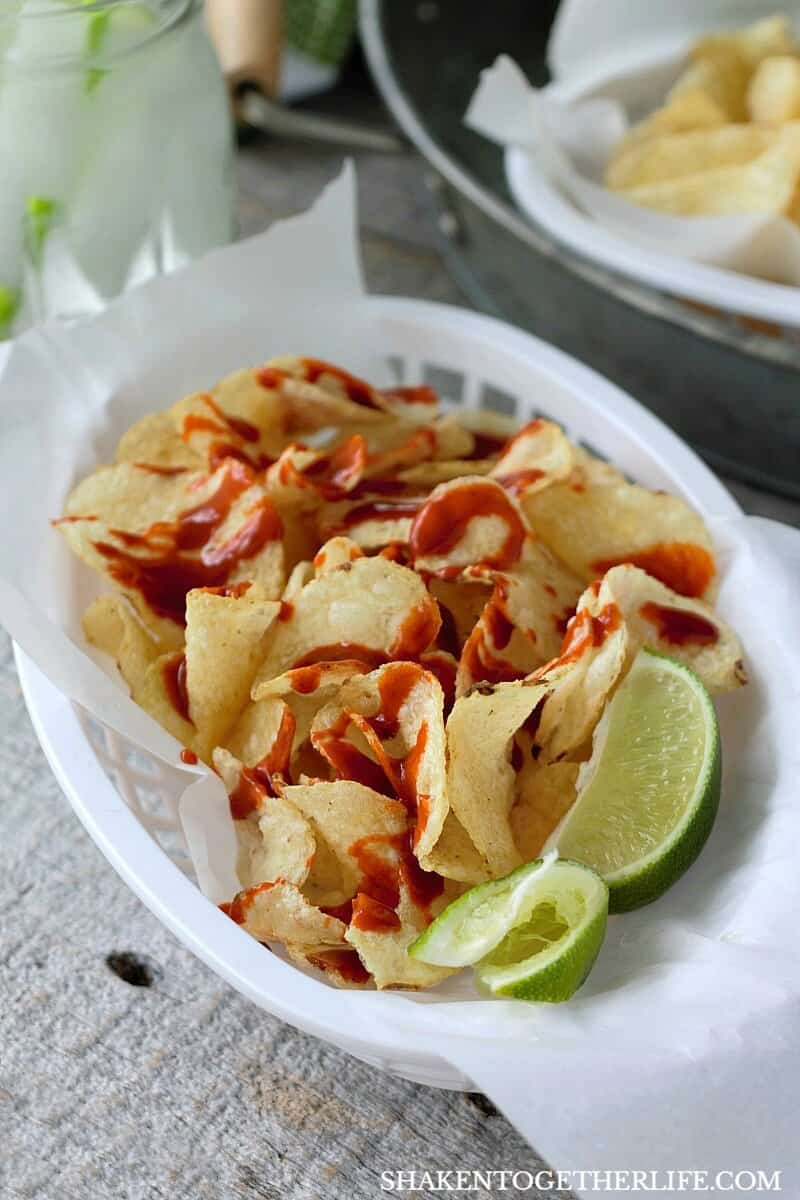 Mexican Street Chips with Hot Sauce & Lime are lip smackin', finger lickin' delicious snack or appetizer!
