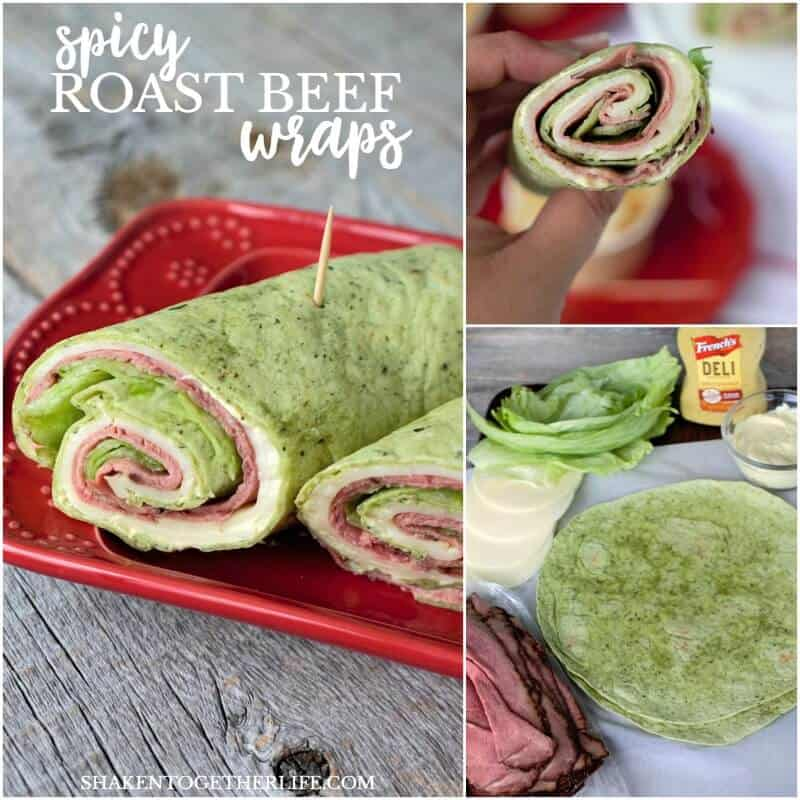 Buh-bye boring sandwich. Our Spicy Roast Beef Wraps have a spicy cream cheese spread that amps of the flavor of the classic combination of roast beef and provolone. This easy make ahead meal is perfect for Summer entertaining!