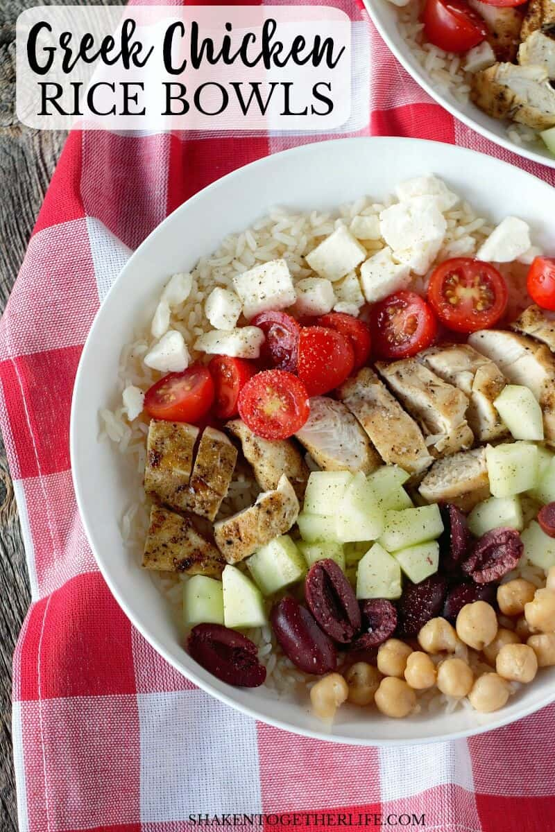 Easy Greek Chicken Rice Bowls pack big flavor and can be made in just minutes! Great fast, family friendly dinner idea!