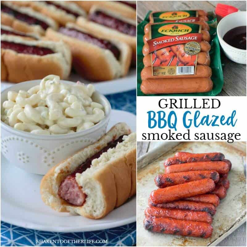 Smoked sausage, your favorite BBQ sauce and a quick trip to the grill are all you need to make this Grilled BBQ Glazed Smoked Sausage! Our family LOVES this easy grilling recipe!
