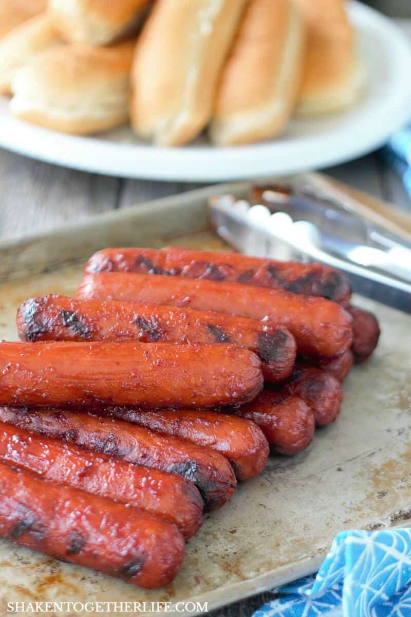 Grilled BBQ Glazed Smoked Sausage are an easy Summer grilling recipe!