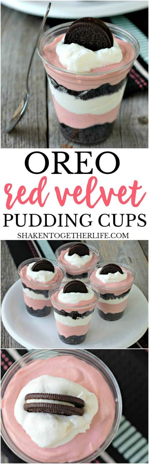 Glorious layers of red velvet pudding mousse, crushed Oreos are whipped cream make up this easy, no bake dessert! You are going to LOVE these Red Velvet Pudding Cups!