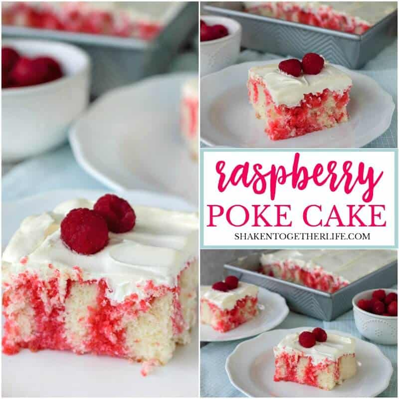 Soft white cake is drenched in raspberry Jell-O then topped with fluffy whipped cream and fresh raspberries - this super simple Raspberry Poke Cake is definitely a dreamy dessert!