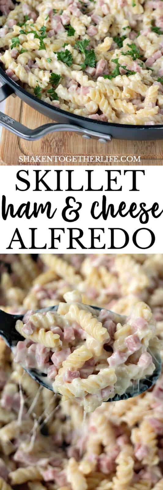 Creamy and cheesy, this Skillet Ham & Cheese Alfredo is the ultimate easy dinner recipe!