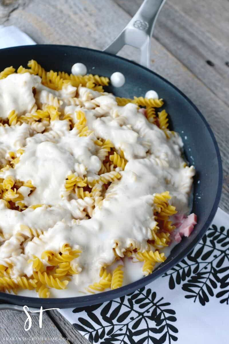 Skillet Ham & Cheese Alfredo - the addition of milk and water provide the cooking liquid for the pasta