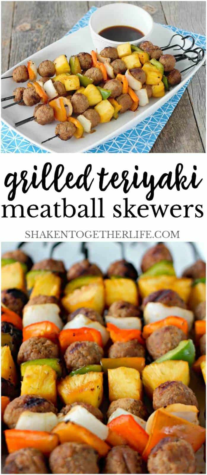 Grilled Teriyaki Meatball Skewers only have 5 ingredients, minimal prep and grill to perfection in minutes! They are loaded with meatballs, pineapple and veggies all glazed with teriyaki sauce - YUM!