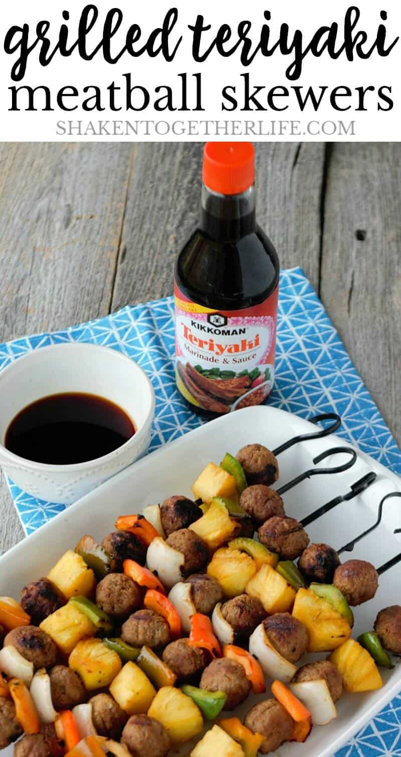 Grilled Teriyaki Meatball Skewers are a simple grilled meal that your family will LOVE!