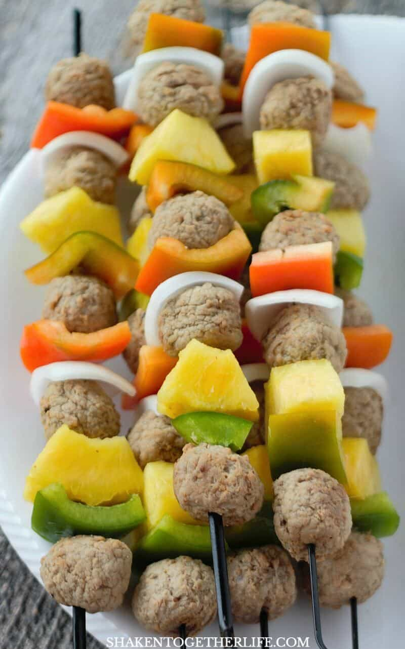 Grilled Teriyaki Meatball Skewers pair cooked meatballs, peppers, onion and pineapple for a colorful, flavorful grilled meal!