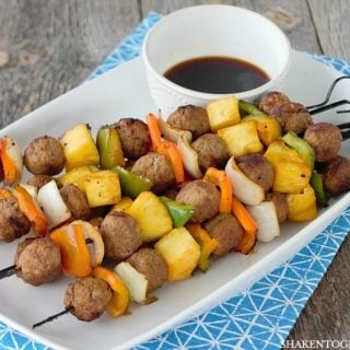 Grilled Teriyaki Meatball Skewers