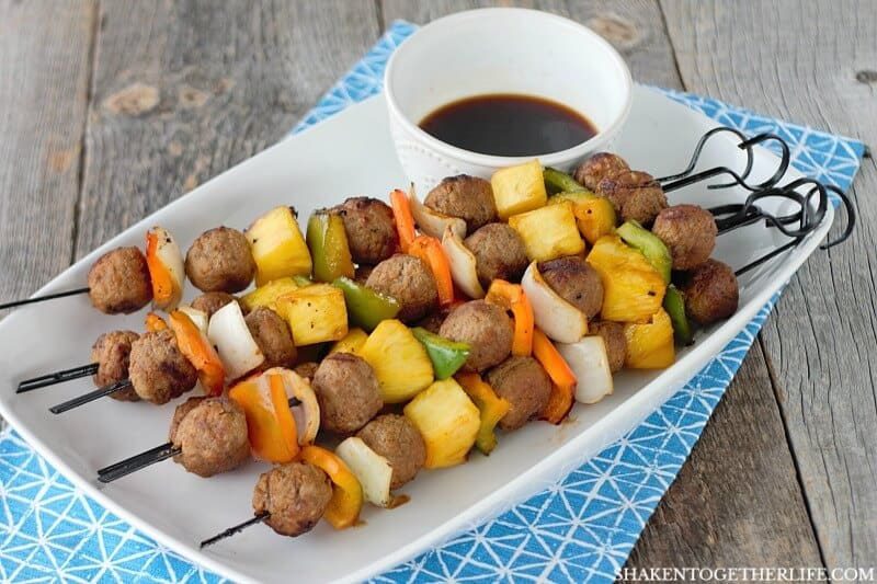 Just 5 ingredients and a couple of minutes on the grill and these Grilled Teriyaki Meatball Skewers are done!