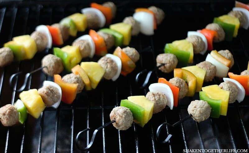 Grilled Teriyaki Meatball Skewers are done after a few minutes on the grill - what an easy Summer meal!