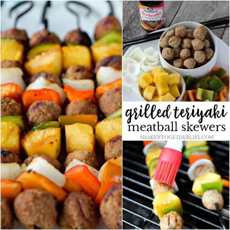 Grilled Teriyaki Meatball Skewers are grilled to perfection and glazed with teriyaki sauce - such an easy, flavorful grilling recipe!