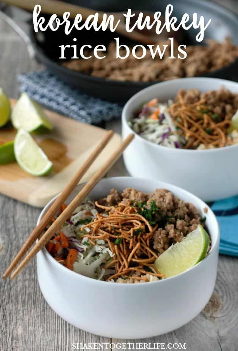 Korean Turkey Rice Bowls are a quick and tasty weeknight meal! Each bowl gets a generous portion of seasoned ground turkey, nutty brown rice, veggies and a sprinkling of crispy noodles!