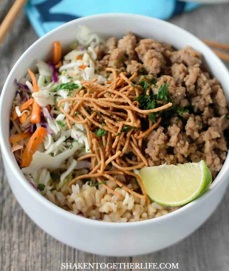 Korean Turkey Rice Bowls use basic ingredients from the grocery store, fridge and pantry but pack BIG flavor!