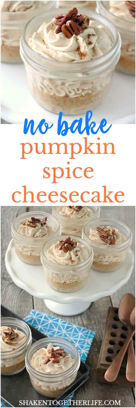 This No Bake Pumpkin Spice Cheesecake recipe has just a handful of ingredients and BIG pumpkin spice flavor! This no fuss Fall dessert is quick, easy and delicious!