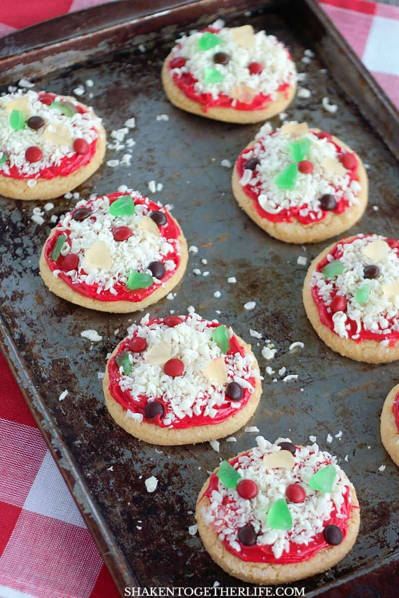 Mini M&Ms are the pepperoni and sausage on these loaded Sugar Cookie Pizza Cookies!