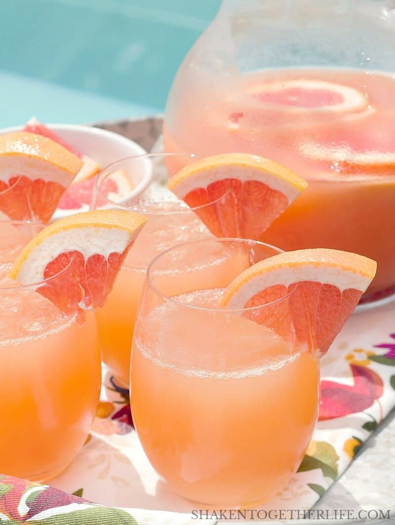 Ruby Red Grapefruit Mimosas on flower tray