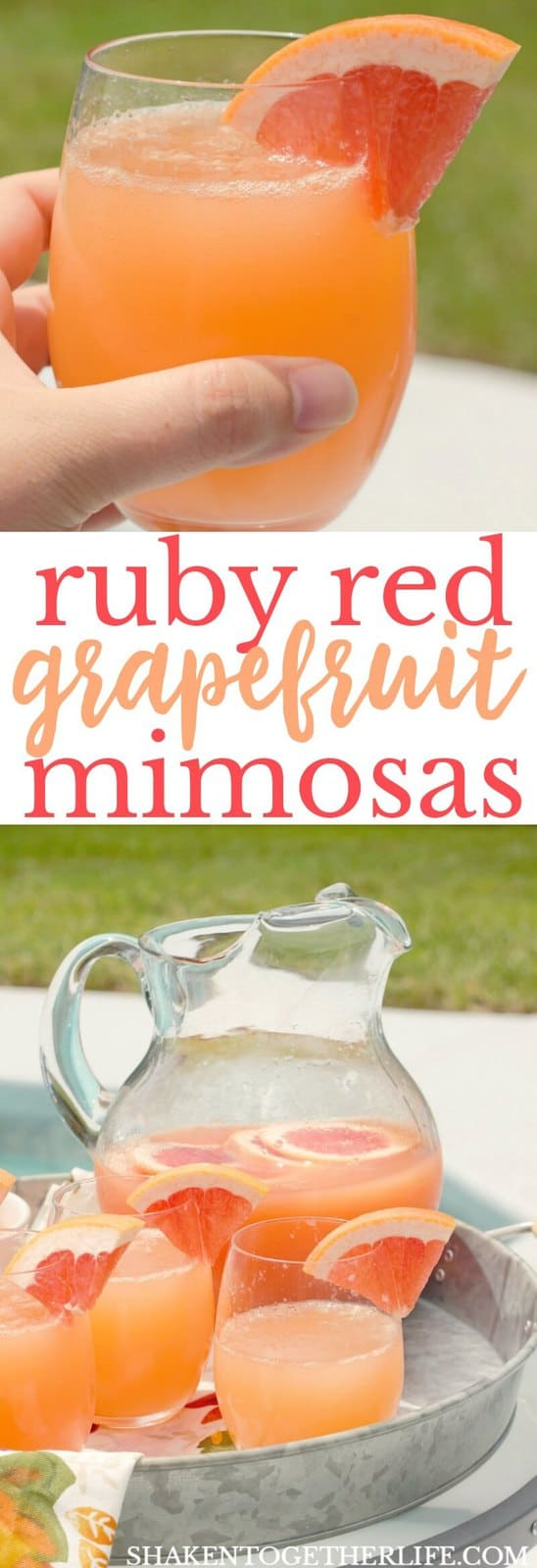 With just 2 ingredients, these Ruby Red Grapefruit Mimosas will be the life of every pool party, girls day and brunch!