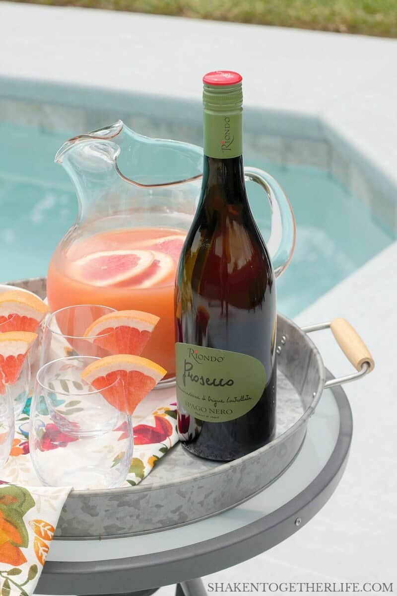 Riondo Prosecco is perfect for these poolside Ruby Red Grapefruit Mimosas!