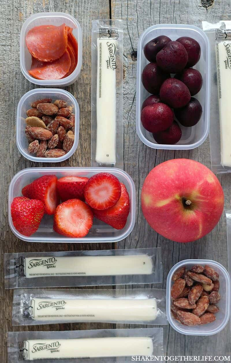 Prep and pack these Quick & Easy Snacks for the Office in no time - string cheese, fruit, nuts, veggies & more! Great snack ideas for adults!