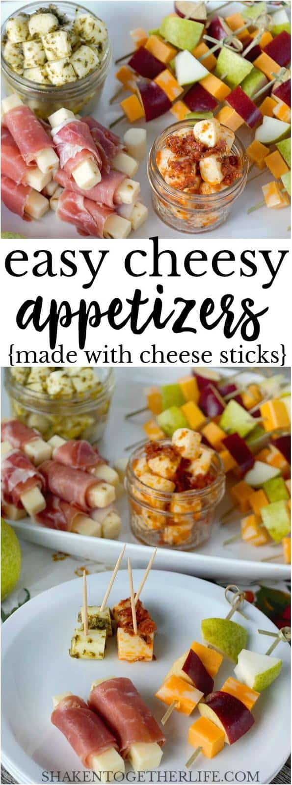 3 Easy Cheesy Appetizers made using cheese sticks! Pesto Mozzarella Bites, Prosciutto Wrapped Pepper Jack and Fruit & Cheese Skewers are simple and delicious!