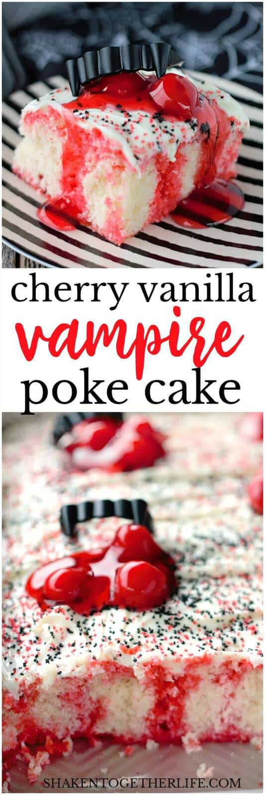 Cherry Vanilla Vampire Poke Cake is frightfully fun and devilishly delicious! The glossy globs of cherry pie filling and fangs are the perfect touch for this Halloween dessert!