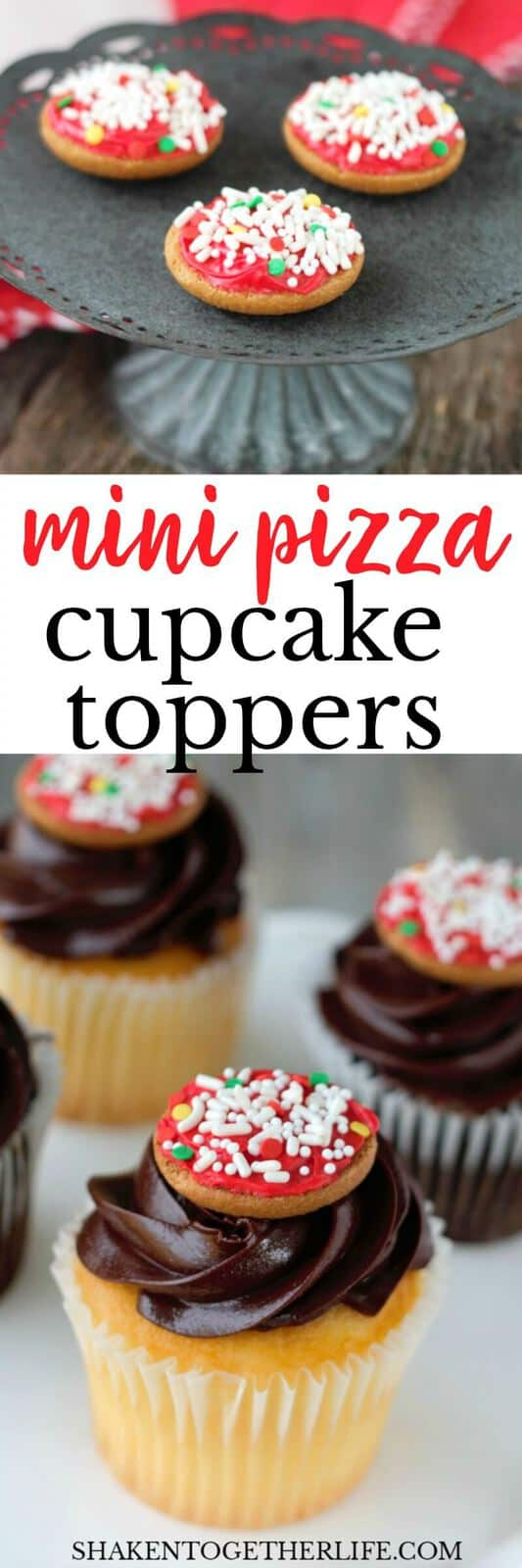 How to make Mini Pizza Cupcakes Toppers! This cute pizza themed dessert is perfect for a Pizza Party! They are no bake and SO easy to make!