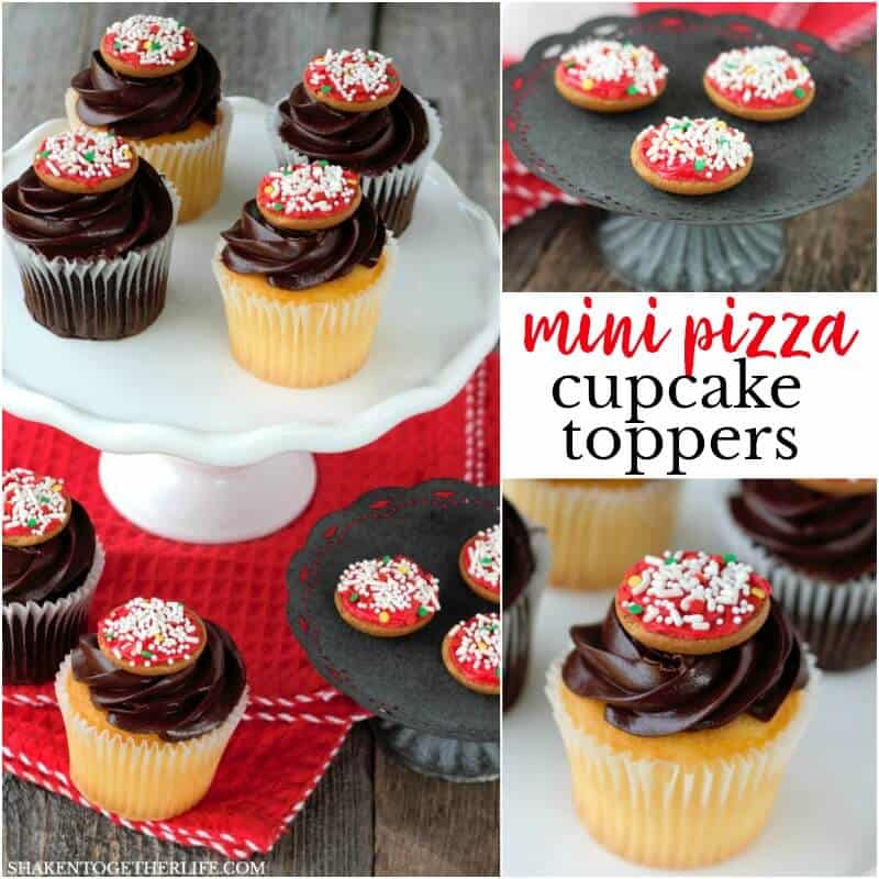 These super cute Mini Pizza Cupcake Toppers take just minutes and are the perfect way to dress up store bought cupcakes for a pizza party!