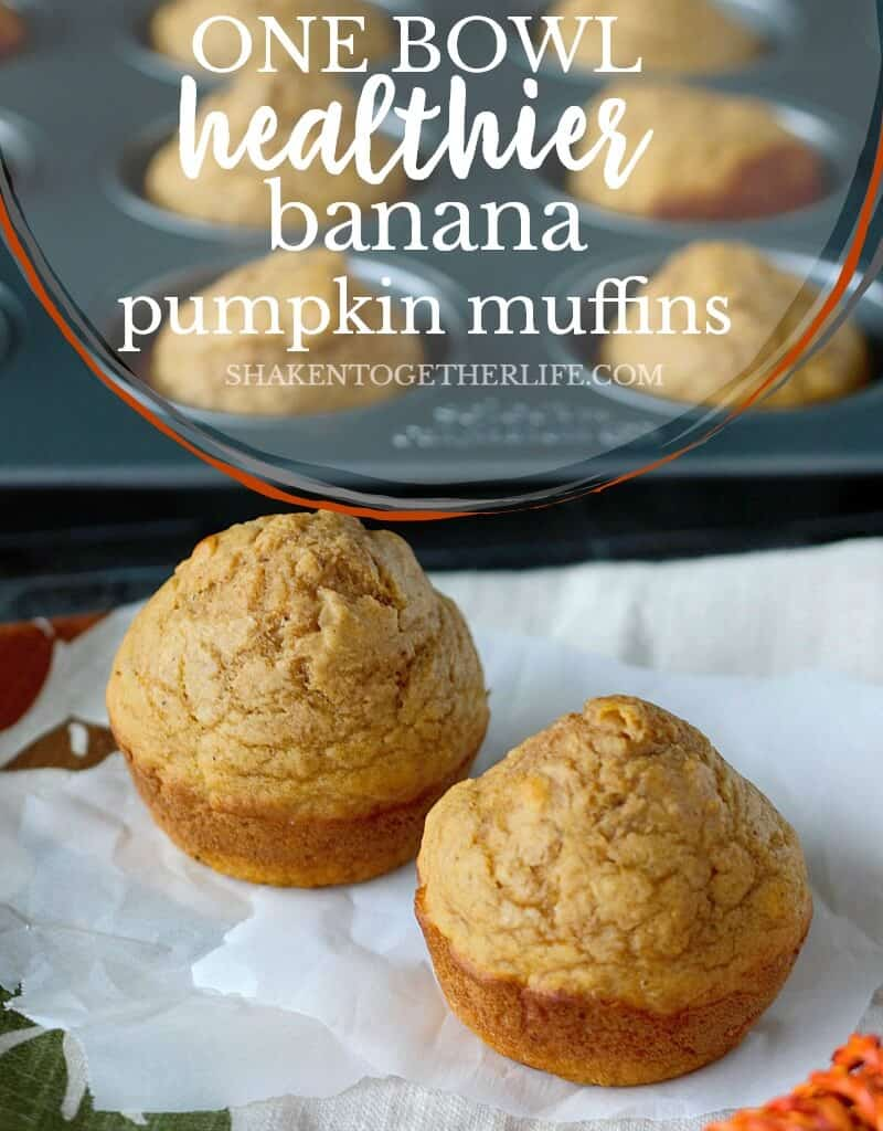 One Bowl Healthier Banana Pumpkin Muffins are a delicious, healthy Fall breakfast! Spread with pumpkin butter or cinnamon butter, these muffins are packed with Fall flavor!