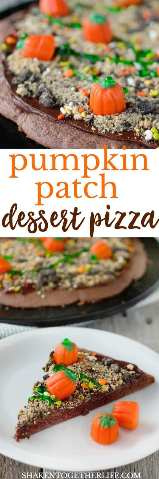 Our Pumpkin Patch Dessert Pizza is a big chocolatey slice of fun for Fall! Make it for any Fall festivity or not-so-spooky Halloween party!