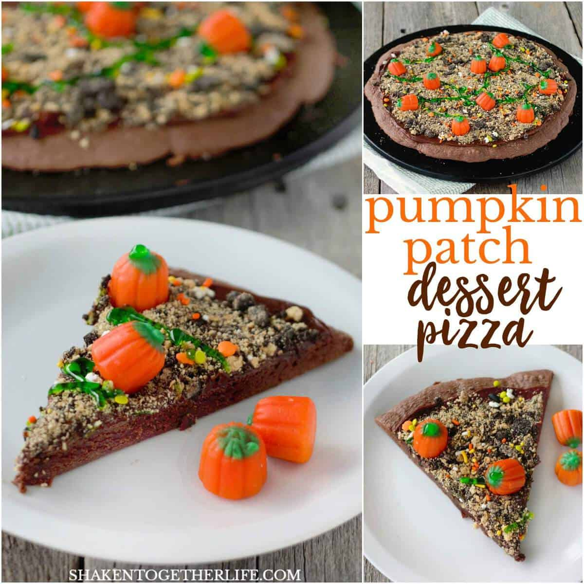 Make a chocolatey Pumpkin Patch Dessert Pizza for Fall! It's easy and simply delicious! I mean, who doesn't like a brownie crust, chocolate frosting, crumbled cookies and candy pumpkins?!