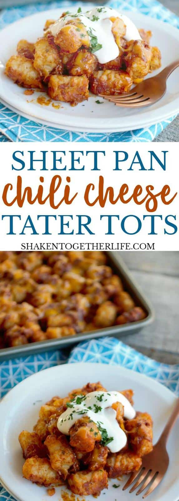 Ooey gooey cheesy Sheet Pan Chili Cheese Tater Tots are the perfect game day comfort food! Load them up with sour cream and chives, crumbled bacon or even drizzle them with your favorite BBQ sauce!
